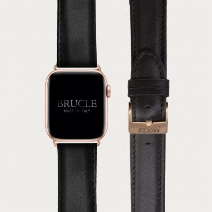 Cinturino nero in vitello per orologio compatibile con Apple Watch e Samsung Galaxy Watch