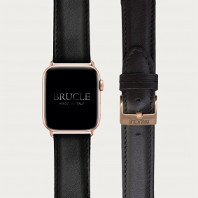Leather Watch band compatible with Apple Watch / Samsung smartwatch, black