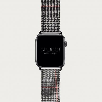 Cinturino in pelle con stampa tartan per orologio, Apple Watch e Samsung Galaxy Watch