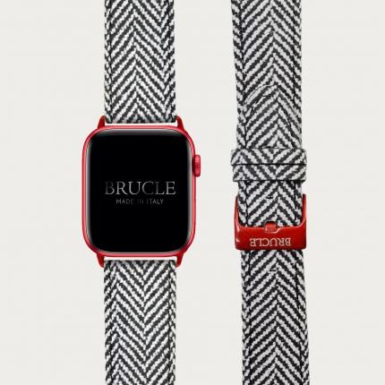 Brucle cinturino rosso in pelle stampa tartan per orologio, Compatibile con Apple Watch / Galaxy Samsung