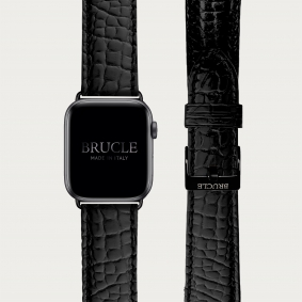Cinturino nero in alligatore per orologio, Apple Watch e Samsung Galaxy Watch
