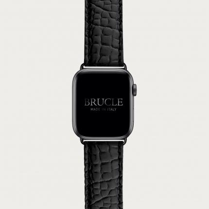 Bracelet montre alligator noir, compatible Apple Watch et Samsung smartwatch