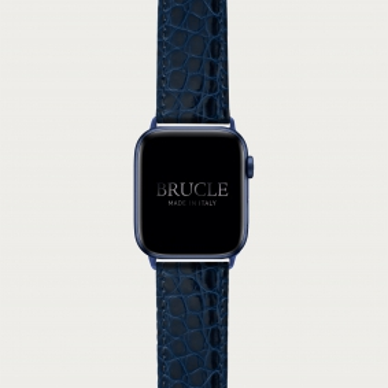 BRUCLE Bracelet montre alligator navy blue, compatible Apple Watch et Samsung smartwatch