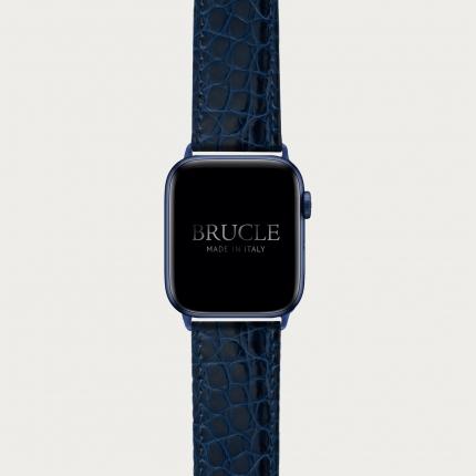 BRUCLE Cinturino blu navy in alligatore per orologio, Apple Watch e Samsung Galaxy Watch