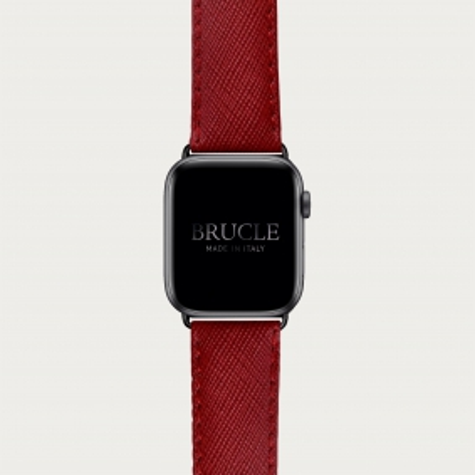 Bracelet en cuir pour montre, Apple Watch et Samsung smartwatch, imprimé Saffiano, rouge