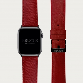 Leather Watch band compatible with Apple Watch / Samsung smartwatch, red Saffiano print