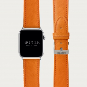 Leather Watch band compatible with Apple Watch / Samsung smartwatch, orange Saffiano print