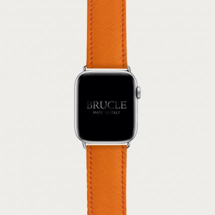Bracelet en cuir pour montre, Apple Watch et Samsung smartwatch, imprimé Saffiano, Orange