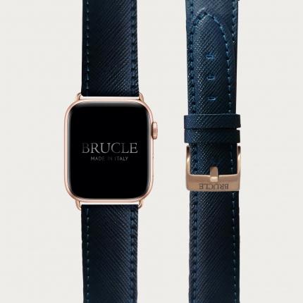 Bracelet en cuir pour montre, Apple Watch et Samsung smartwatch, imprimé Saffiano, navy blue