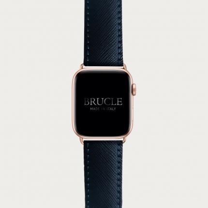 Cinturino blu navy in pelle stampa Saffiano per orologio, Apple Watch e Samsung Galaxy Watch