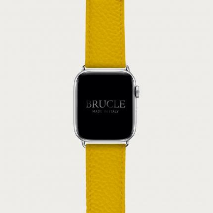 Bracelet en cuir pour montre, Apple Watch et Samsung smartwatch, imprimé jaune