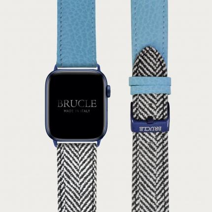 Cinturino bicolor in pelle stampata per orologio, Apple Watch e Samsung Galaxy Watch, dollaro azzurro e spina di pesce
