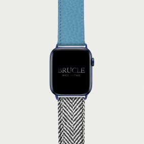 Leather Watch band compatible with Apple Watch / Samsung smartwatch, bicolor blue dollar print and herringbone pattern