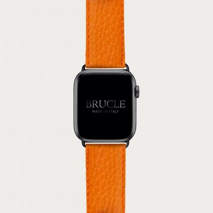 Cinturino arancio in pelle stampa dollaro per orologio, Apple Watch e Samsung Galaxy Watch