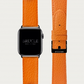 Leather Watch band compatible with Apple Watch / Samsung smartwatch, orange dollar print