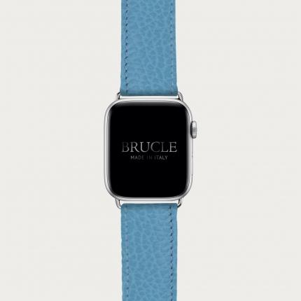 Bracelet en cuir pour montre, Apple Watch et Samsung smartwatch, imprimé bleu clair