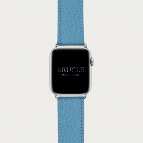 Leather Watch band compatible with Apple Watch / Samsung smartwatch, light blue dollar print