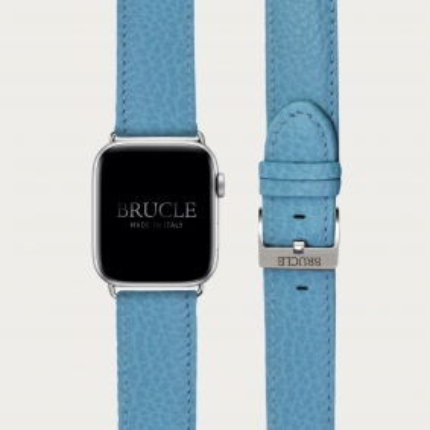 Cinturino azzurro in pelle stampa dollaro per orologio, Apple Watch e Samsung Galaxy Watch