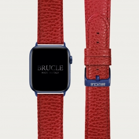 Leather Watch band compatible with Apple Watch / Samsung smartwatch, red dollar print