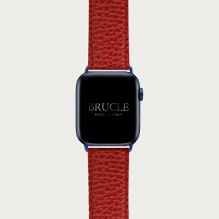 Bracelet en cuir pour montre, Apple Watch et Samsung smartwatch, imprimé rouge