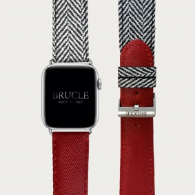 Leather Watch band compatible with Apple Watch / Samsung smartwatch, bicolor red Saffiano print and herringbone pattern