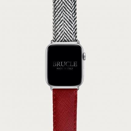 Bracelet en cuir pour montre, Apple Watch et Samsung smartwatch, imprimé Saffiano rouge et motif à chevrons