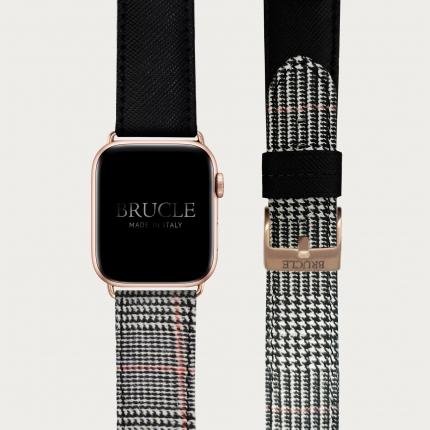 Cinturino bicolor in pelle stampata per orologio, Apple Watch e Samsung Galaxy Watch, saffiano nero e tartan