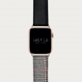 Leather Watch band compatible with Apple Watch / Samsung smartwatch, bicolor black Saffiano print and Wales pattern
