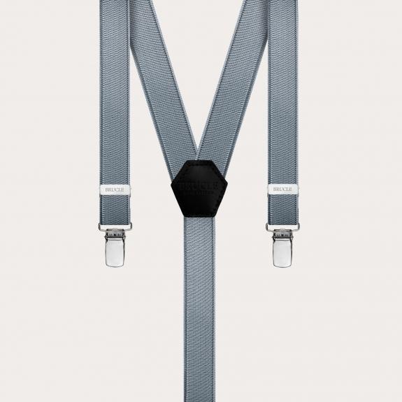 Formal skinny Y-shape elastic suspenders with clips, satin grey