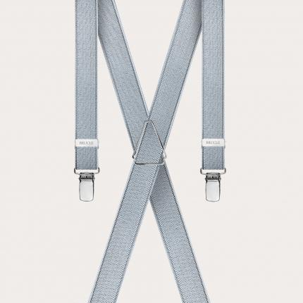 Clip-on Braces Elastic X Suspenders Silver