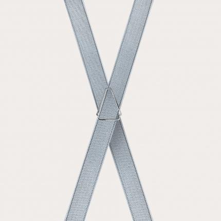 schmale hosenträger silbern x form