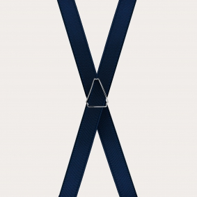 Formal skinny X-shape elastic suspenders with clips, satin blue navy