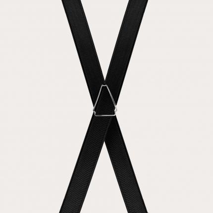 Formal skinny X-shape elastic suspenders with clips, satin black