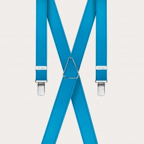Brucle skinny X-shape elastic suspenders with clips, satin blue