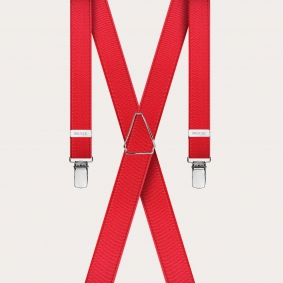 Formal skinny X-shape elastic suspenders with clips, satin red