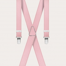 Formal skinny X-shape elastic suspenders with clips, satin pink